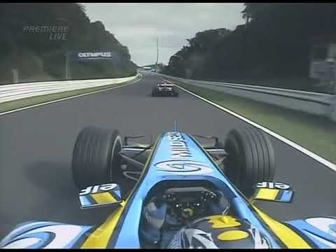 Image: 2005 flashback: Alonso takes 130R flat-out after sublime overtake on Schumacher