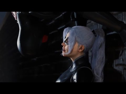 Spiderman PS4 Black Cat (The Heist DLC ) All Cutscenes with Dark Suit