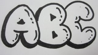 How To Draw Bubble Letters - All Capital Letters