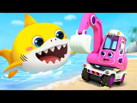 Excavator and Baby Shark | Fire Truck, Tractor, Police Cars | Cars for Kids | Kids Songs | BabyBus