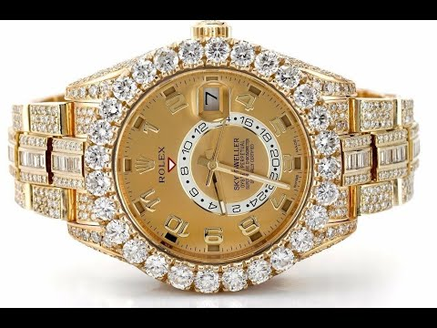 Pre-owned Rolex Sky-Dweller Yellow Gold Huge Bezel Fully Iced Out Baguette Diamonds