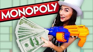 NERF Life Size MONOPOLY Board Game Challenge!