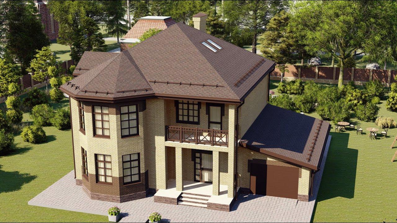 Проект дома с гаражом из газобетона с эркером 232 м2