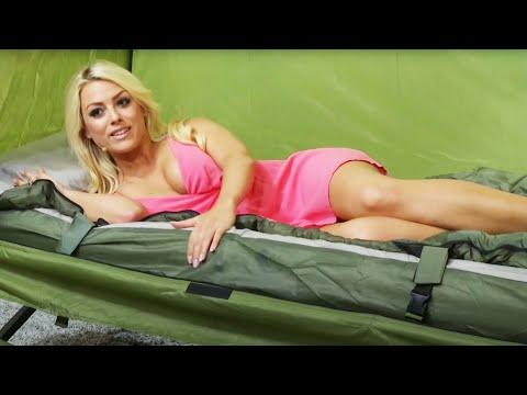 Im Schlafsack mit Katie Steiner!! Semptec 4in1-Zelt inkl. Schlafsack, Matratze & Campingliege