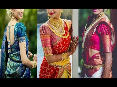 6482c42810fef Latest Puff Sleeve Blouse Designs For Silk Saree 2018