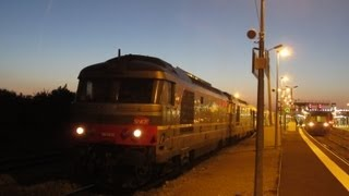 preview picture of video 'France: Two SNCF Class BB 67400 diesel locos depart from Laon on a train to Paris Nord'