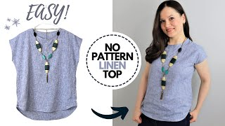 Just 2 Measurements, 1 Hr And 1 Yd Of Fabric To Make This EASY Linen Top For Summer!