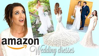 AMAZON WEDDING DRESSES! Affordable Wedding Dress Try-on Haul And Review!