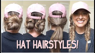 4 EASY HAIRSTYLES TO WEAR WITH HATS! MEDIUM & LONG HAIRSTYLES!