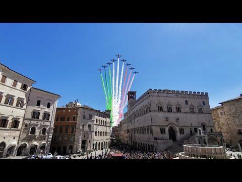 Frecce Tricolore sui cieli di Perugia
