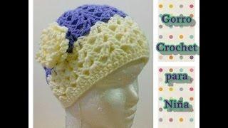 Como Tejer Gorro Crochet Ganchillo Para Niña Con Flor d8f72e9df26