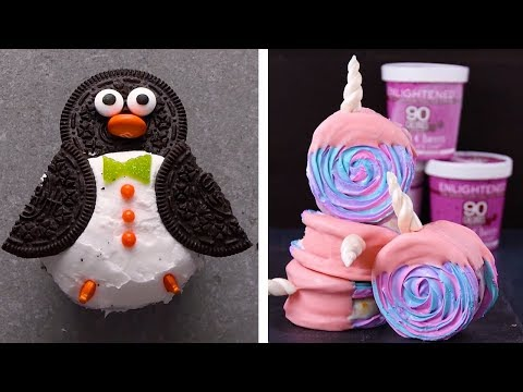 Unicorn Meringue Ice Cream Sandwiches & Penguin Cupcakes! | DIY Homemade Desserts & Decoration Ideas