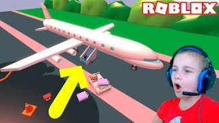 ПОБЕГ ИЗ ПАДАЮЩЕГО САМОЛЁТА в Роблокс приключение мульт героя в аэропорту Roblox