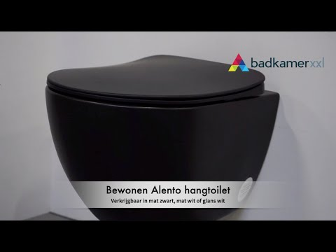 Bewonen Alento hangtoilet Rimless mat zwart - met Softclose zitting