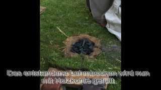 Glasperlenherstellung am offenen Feuer - Einrichten der Feuerstelle
