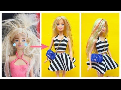 BIẾN HÓA BÚP BÊ #43 phục hồi tóc, váy ko may ko keo, túi xách cho búp bê Ami DIY