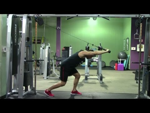 Bent Over Rope Triceps Extension - HASfit Triceps Exercise Demonstration - Bentover Tricep Extension