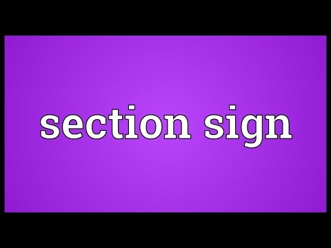 Section sign Meaning