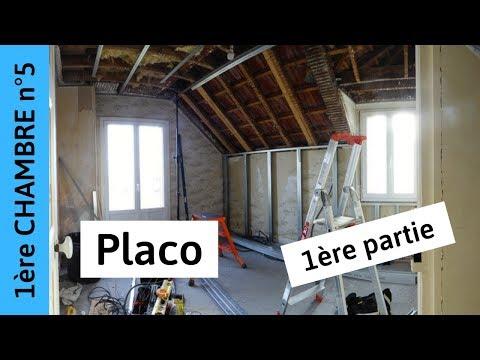 Placo 1ère partie (Chambre 1, épisode 5) pose des rails, montants, suspentes et fourrures