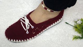 How To Make Crochet Shoes  Tığ Işi Ayakkabı  Zapatos De Ganchillo شوز كروشيه شيك جداً جداً