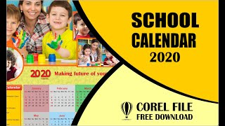 School Calendar Design 2020 In CorelDRAW X7