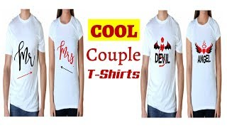 Cute Couple T-Shirts Designs With Awesome Romantic Funny Cool Quotes Images