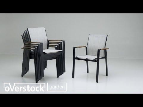 Fina tuinset zwart-grijs - tafelblad in polywood - met 6 tuinstoelen