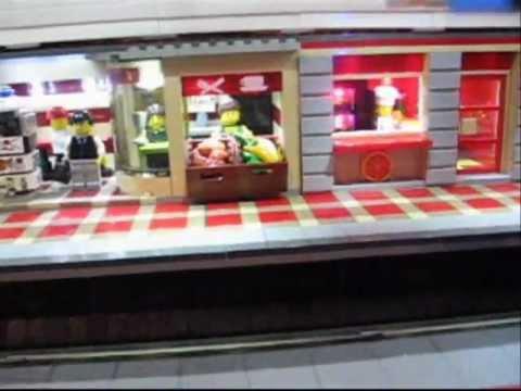 Lego U-Bahn Station (Metro Underground Subway) mit LED beleuchteter Ladenstraße