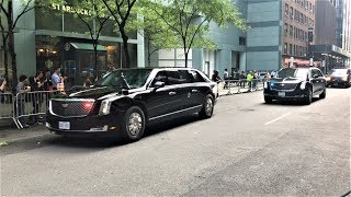 United States President Trump Presidential Motorcade With His Brand New Beast Limo In New York City