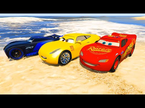 Race Cars on the Beach Lightning McQueen Jackson Storm Cruz Ramirez and Friends Video for Kids