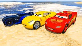 Race Cars on the Beach Lightning McQueen Jackson Storm Cruz Ramirez and Friends Video for Kids