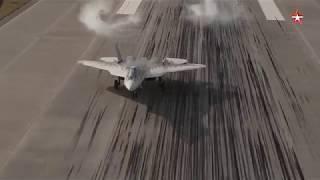 Опубликованы кадры синхронной посадки пары Су 57, снятые с воздуха