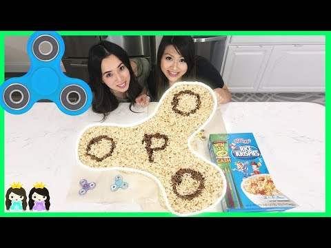 GIANT FIDGET SPINNER RICE KRISPIES & HAND SPINNERS COLLECTION CHALLENGE with Princess ToysReview