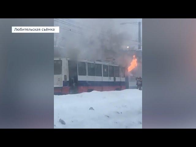 В Ангарске сгорел трамвай