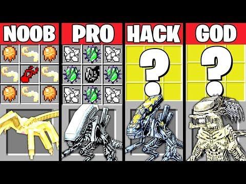 Minecraft Battle: SUPER ALIEN CRAFTING CHALLENGE - NOOB vs PRO vs HACKER vs GOD ~ Animation