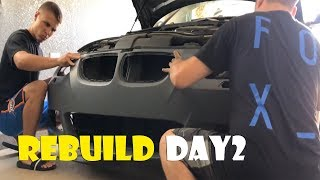 Removing Bumper to Inspect Damage + Test Fitting MTech Bumper on the Salvage 335i from IAA!!