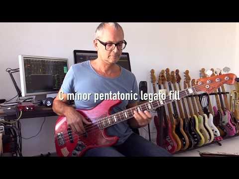 Fast legato bass fill in C minor, pentatonic scale exercise