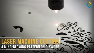 Laser machine cutting a mind-blowing pattern on plywood