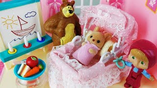 Masha and Bear House toys Baby doll baby sitter kitchen play - 토이몽