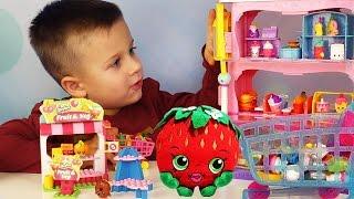 Шопкинс Супермаркет ИГРАЕМ В МАГАЗИН Shopkins Mall Видео для Детей игрушки Шопкинсы и Конструктор