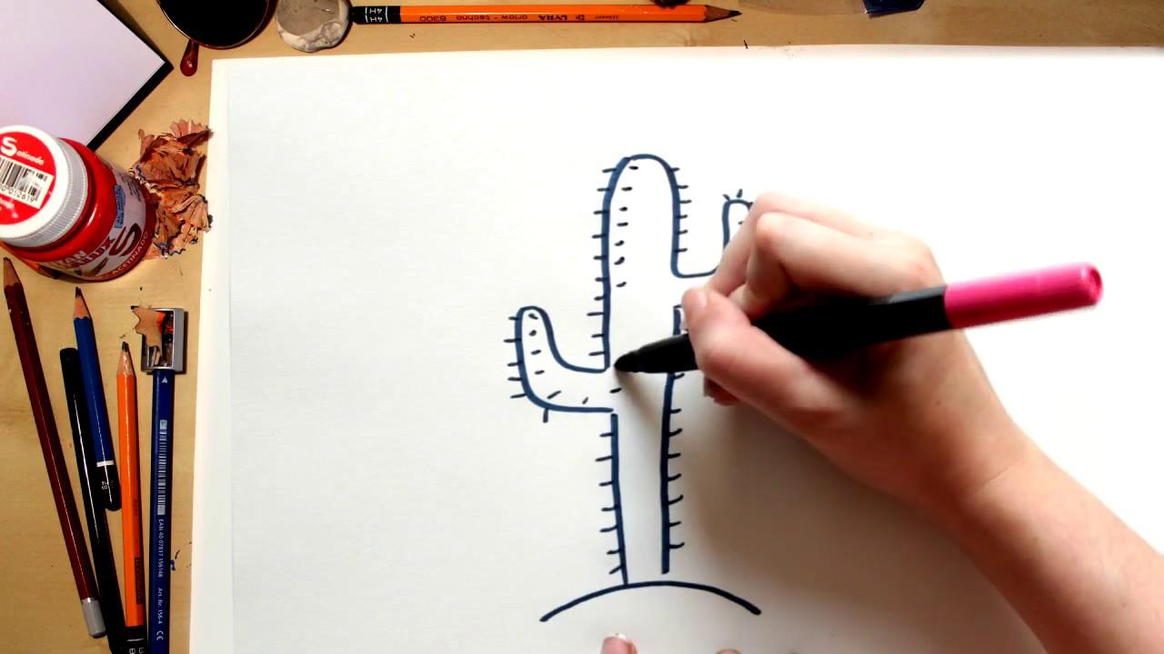 Como desenhar um Cacto do deserto - desenhos para crianças