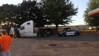 police call on truck broke down at truck stop