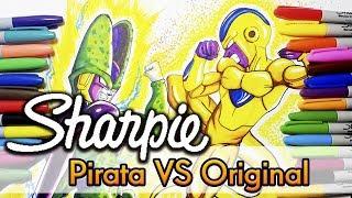 Sharpie Original VS Pirata de tianguis Dibujando a Cell y Golden Freeza