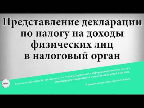 Представление декларации по налогу на доходы физических лиц в налоговый орган