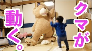A prank involving bringing a stuffed bear to life [2-year-old]