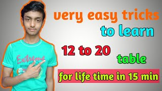 12 to 20 table tricks|table tricks|12 to 20 tables in maths|12 to 20 tables easy method