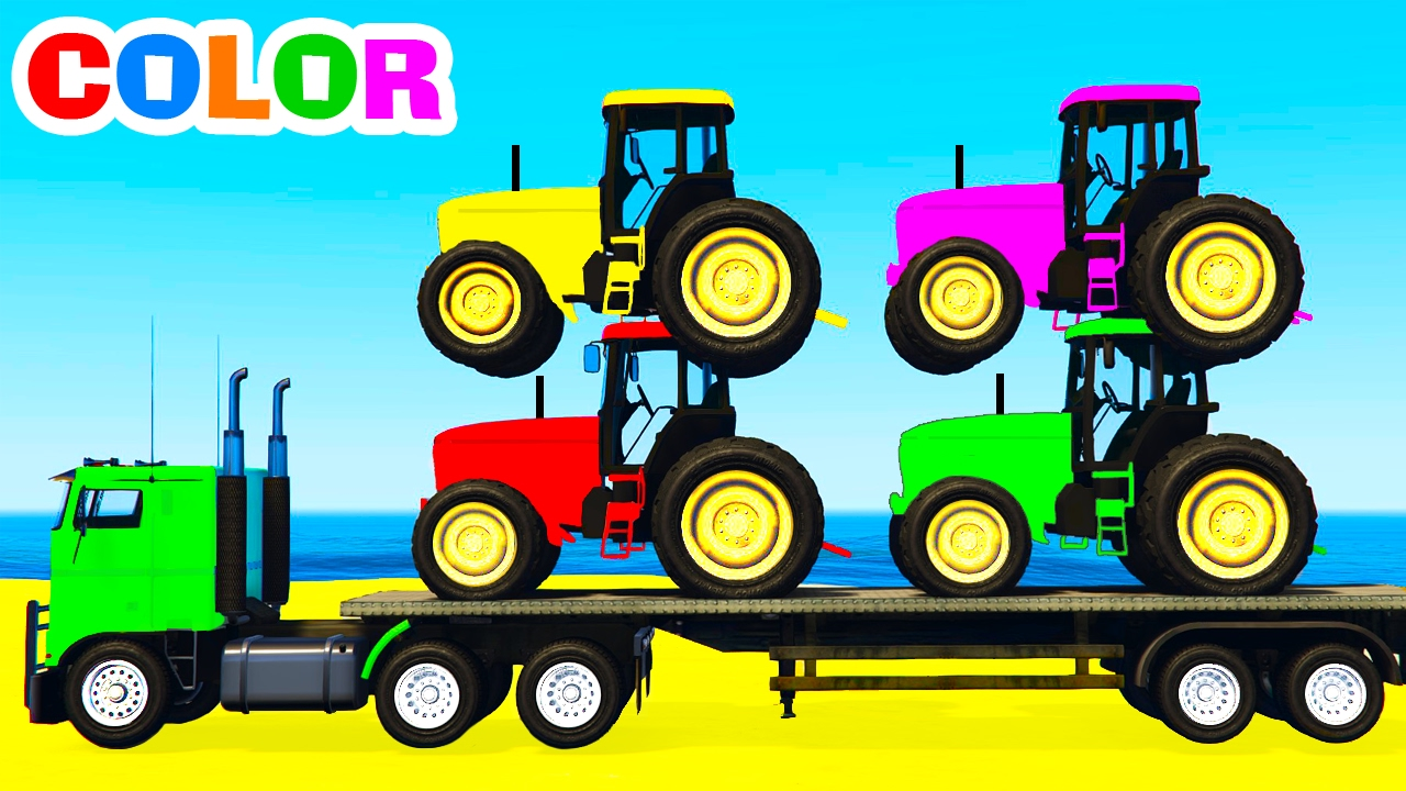 - COLOR TRACTORS On Truck & Cars Cartoon For Kids And Colors For