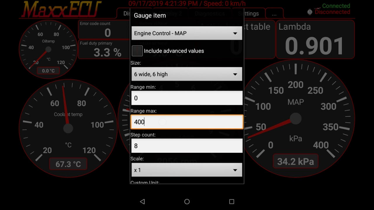 MaxxECU MDash how to display the boost gauge
