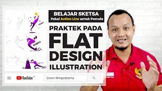 Belajar Sketch Pakai Action Line Untuk Pemula | Praktek Pada Flat Design Illustration