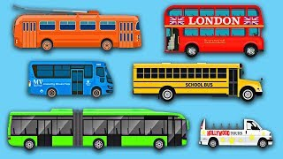 Learn Buses - Learning Bus Colors & Sounds - Street Vehicles - Organic Learning Fun & Educational